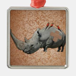 Big Headed Rhino Silver-Colored Square Ornament