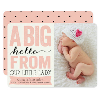Big Hello Little Lady Baby Girl Birth Announcement