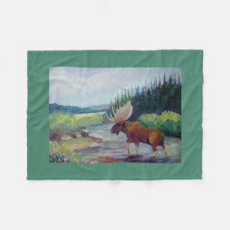 Big Horn Mountain Moose Fleece Blanket