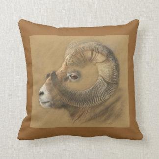 Big Horn Ram Drawing Throw Pillow