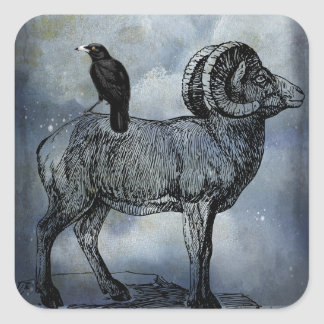 Big Horn Sheep And Crow Square Sticker