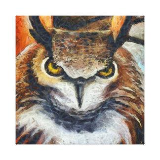 Big Horned Grumpy Owl Canvas Print