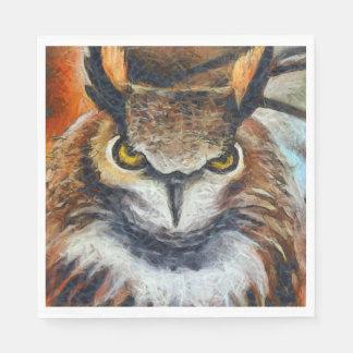 Big Horned Grumpy Owl Paper Napkins