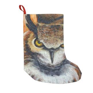 Big Horned Grumpy Owl Small Christmas Stocking