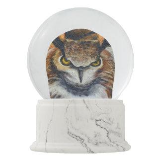 Big Horned Grumpy Owl Snow Globe