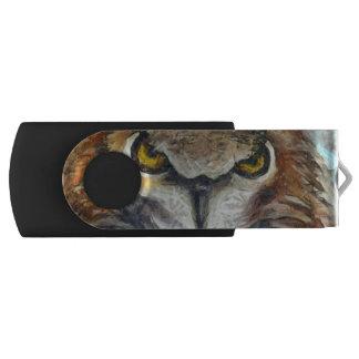 Big Horned Grumpy Owl USB Flash Drive