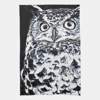 Big Horned Owl Art Kitchen Towel