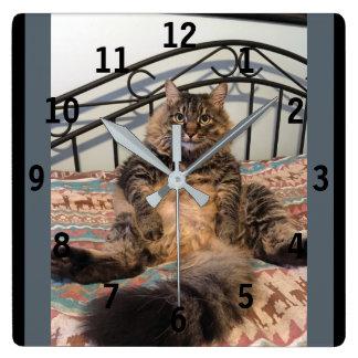 Big Huggable Cat Numbered Wall Clock