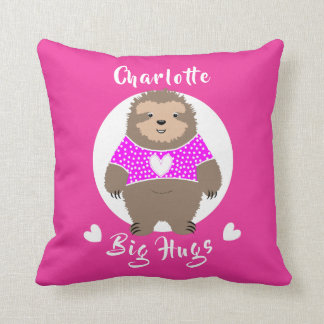 Big Hugs Fun Super Cute Sloth Personalized Throw Pillow