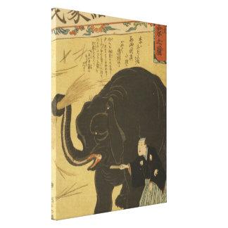 Big Imported Elephant Japanese Vintage Art Canvas Print