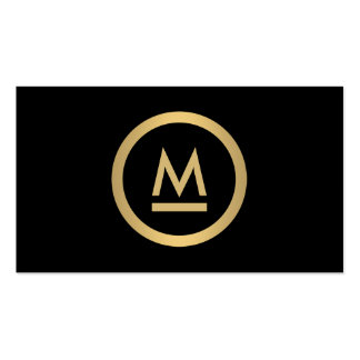 Big Initial Modern Monogram in Faux Gold on Black Business Card