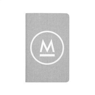 Big Initial Modern Monogram on Gray Linen Journal