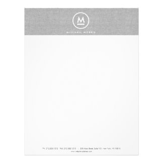 Big Initial Monogram on Gray Linen Letterhead