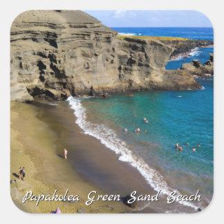 Big Island Hawaii Papakolea Green Sand Beach Square Sticker