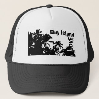 Big Island Love black white palm tree hat