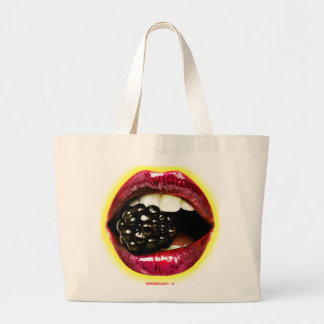 Big Juicy Lips Biting a Big Juicy Blackberry Large Tote Bag