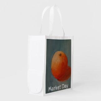 Big Juicy Yellow Orange Reusable Grocery Bags