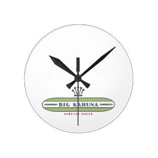 Big Kahuna Straight HI Surfer Round Clock