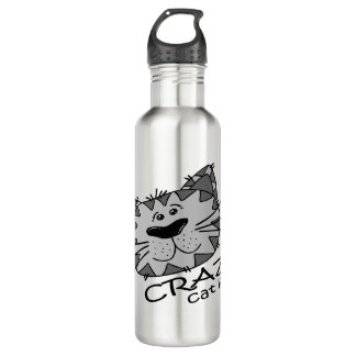 Big Kitty Face Crazy Cat Lady 710 Ml Water Bottle