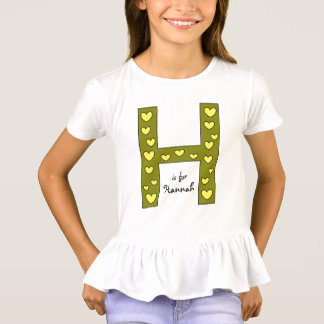 Big Letter H Design Personalized Girl's Name T-Shirt