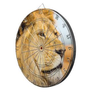 Big lion looking far away dartboard