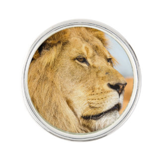 Big lion looking far away lapel pin