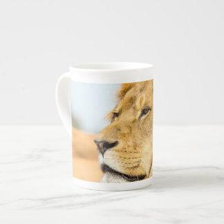 Big lion looking far away tea cup