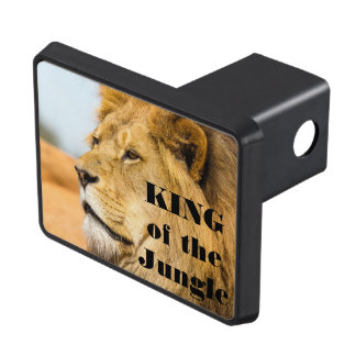 Big lion looking far away trailer hitch cover