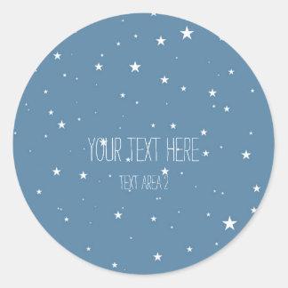 Big & Little Stars Blue Celestial Favor Stickers