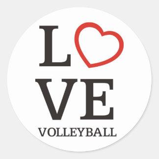 Big LOVE Volleyball Classic Round Sticker