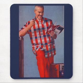 big man in red and plaid mouse pad
