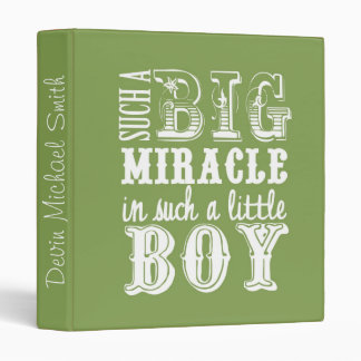 Big Miracle, Little Boy-Green Baby Book 3 Ring Binder