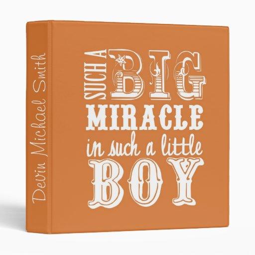 Big Miracle, Little Boy-Orange Baby Book 3 Ring Binder