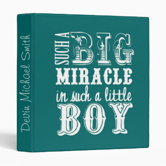 Big Miracle, Little Boy-Teal Baby Book 3 Ring Binder