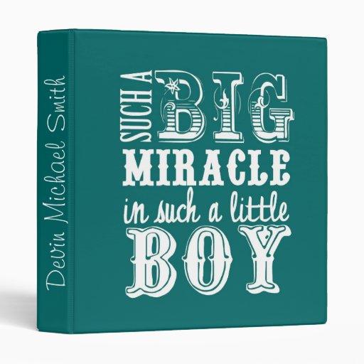 Big Miracle, Little Boy-Teal Baby Book 3 Ring Binders