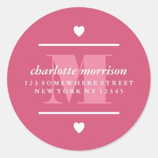 Big Monogram Hearts & Lines Pink Classic Round Sticker