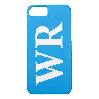 Big Monogram Letters Sky Blue and White Bold Style iPhone 8/7 Case