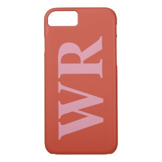 Big Monogram Letters Soft Red and Pink Bold Style iPhone 7 Case