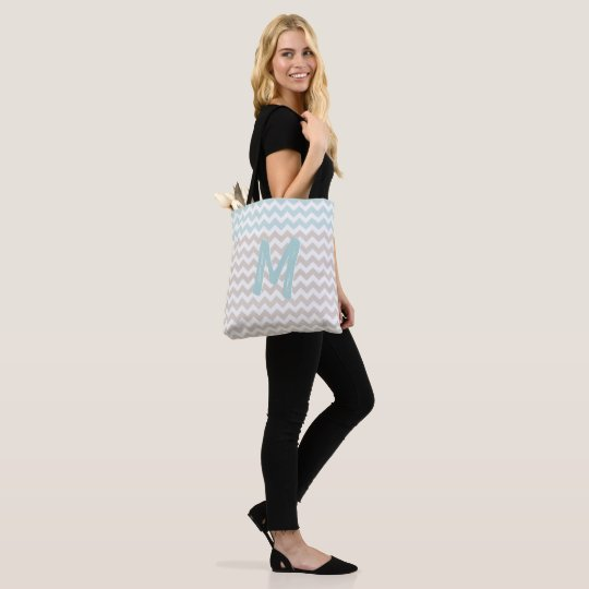 Big Monogrammed Chevron Tote Bag