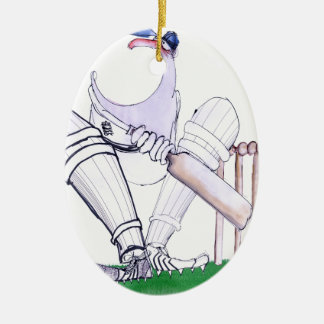 BIG MOUTH - cricket, tony fernandes Ceramic Oval Ornament