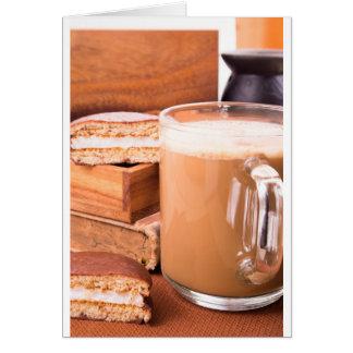Big mug of hot cocoa with foam card
