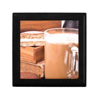 Big mug of hot cocoa with foam gift box