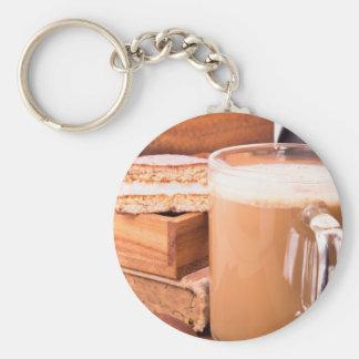 Big mug of hot cocoa with foam keychain