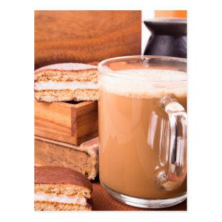 Big mug of hot cocoa with foam postcard