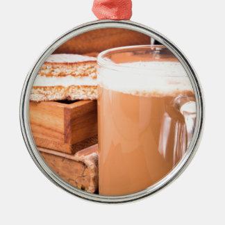 Big mug of hot cocoa with foam Silver-Colored round ornament