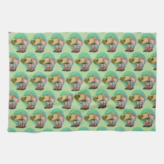 big nose funny dog cartoon kitchen towel