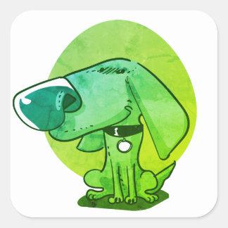 big nose funny dog cartoon square sticker