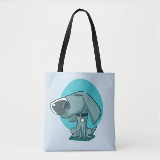 big nose funny dog cartoon tote bag