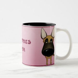 Big Nose Malinois Mom Two-Tone Coffee Mug