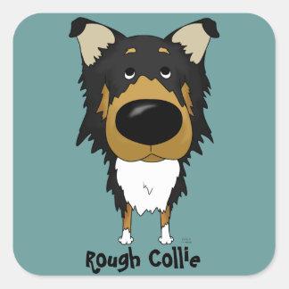 Big Nose Rough Collie Square Sticker